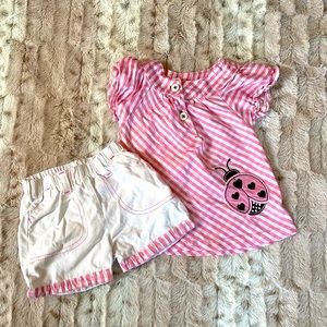 Baby Girls 2 Set Top and Shorts Lady Bug 12m Pink